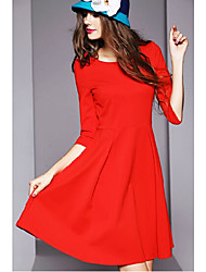 Women's Solid Casual Skater Jersey Dress