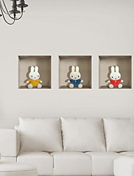 3d les murs de lapin autocollants stickers muraux