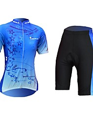 Quirell Women's Wicking Polyester Short Sleeve Cycling Suits-Blue