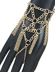 Women's Fashion Hyperbole Tassel Hand Chain Ring Bracelet