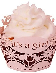 12pcs Laser Cut It's a Girl Lace Cupcake Wrappers Liners Muffin Cases Baby Shower Wedding Party Cake Decoartion