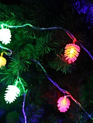 jiawen® 4m 20leds rgb luzes pinheiros cones de corda levou luz seqüência de natal para decoração (AC 110-220V)