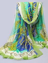 Frauen lang Chiffon- grüne Seidenschal Kette