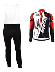 KOOPLUS® Cycling Jersey with Bib Tights Women's / Men's / Unisex Long Sleeve BikeBreathable / Thermal / Warm / Waterproof Zipper /