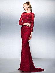 Homecoming Formal Evening Dress - Burgundy Trumpet/Mermaid Jewel Sweep/Brush Train Lace