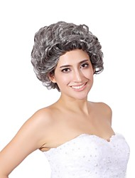 Capless Mix Color Extra Short High Quality Natural Curly Hair Synthetic Wig with None Bang