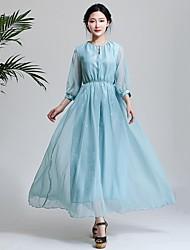 Women's Blue Dress , Casual/Work/Maxi ¾ Sleeve