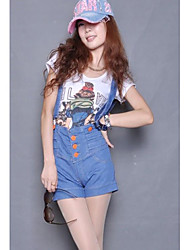 moda shorts de single-breasted suspender Blue Jeans