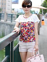 lace estilo de moda t-shirt branco embelezado