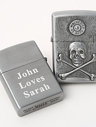 Personalized Engraving  Skull Pattern Silver Metal  Oil Lighter