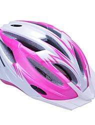 pc de alta transpirabilidad + eps casco de bicicleta negro con visera desmontable (17 tiros) - rosa + rojo plata