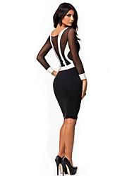 SML XL XXL Plus Size New Fashion Frauen Langarmshirt Schwarz und Weiß Patchwork, figurbetontes Kleid Sexy Abend Kleid 9029