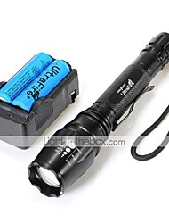 LT-0005   5 Mode  CREE XM-L U2  Zoom LED  Flashlight(2000LM. 2*18650. Black)