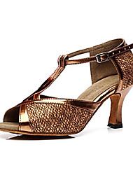 Non Customizable Women's Dance Shoes Latin Sparkling Glitter Stiletto Heel Blue/Brown/Gold