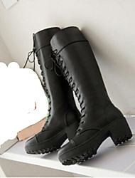 Winble Women's Fashion Causual Comfortable Tie Mid Heel Temperament Leather Boots