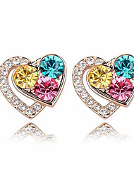 Earring Stud Earrings Jewelry Women Gemstone & Crystal / Gold 2pcs White / Pink