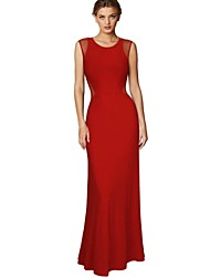 Women's Party/Cocktail Sexy A Line Dress,Solid Crew Neck Maxi Sleeveless Red Nylon / Spandex All Seasons