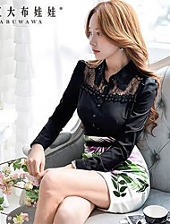 Women's Black Shirt , Casual/Lace Long Sleeve