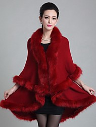Women's Party/Cocktail Cloak/Capes,Solid V Neck ½ Length Sleeve Fall / Winter Blue / Red / White / Black / Brown / PurpleWool / Faux Fur