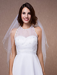 Wedding Veils Two Tiers Bead Edge With Comb