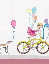 pared calcomanías pegatinas de pared, chica de dibujos animados de pvc bicicleta pegatinas de pared