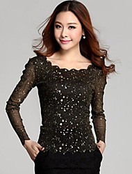 Women's Solid Blue/Black Blouse , Casual Round Neck Long Sleeve Sequins