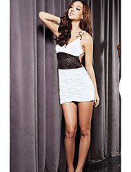 Sexy Pleated Slim Back Special Design Dress White