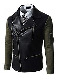 Charels Men's Korean Fashion Assorted Colors Slim Lapel Coat Leather Clothing