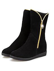 Women's Spring / Fall / Winter Fashion Boots Leatherette Casual Flat Heel Zipper Black / Gray / Burgundy