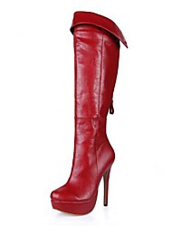 Women's Shoes   Round Toe Platform  Stiletto Heel  Knee High Boots   with Zipper
