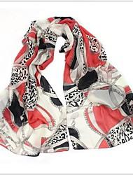 Women's  Leopard Grain Chain Chiffon Scarf