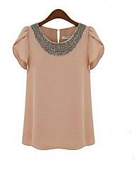 Clement Women's European Chiffon Beads Large Yard Short Sleeve Shirt Top