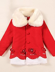 Sweet Girl Red and White Woolen Coat Kids Christmas Costume(for 150cm)