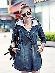 TS Women's Fashion Jeans Hooded Wind Coat