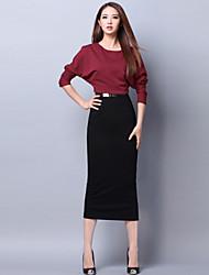 sottile vestito lungo del manicotto del blocco a vita delle donne BLK