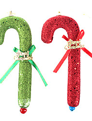 Bubble Canes with Gold Dust Christmas Decorations Tree Ornaments(2PCS,Green and Red)
