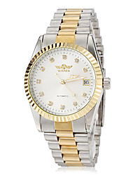 Men's Classic Gold Case Steel Band Automatic Self Wind Wrist Watch (Assorted Colors)