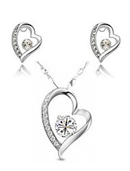 WEIMEI Women's Temperament Rhinestone Crystal Heart Cut Out Elegance Fashion Necklace Earrings Suits