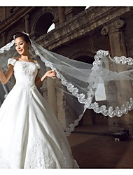 One-tier Cathedral Veils Wedding Veils with Lace Applique Edge 3M White Color Veils