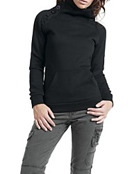 botões das mulheres mistura de algodão cor sólida embelezado camisola