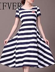 puro algodón de la raya de las mujeres lifver® posó vestido de falda de cintura alta de cultiva su moralidad