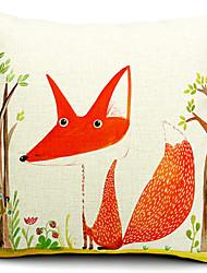 raposa e árvore de algodão / linho fronha decorativo