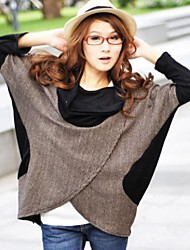 Mulheres Blusa Casual Simples Primavera / Outono / Inverno,Color Block Preto / Laranja / Amarelo Gola Boba Manga Longa Média