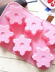 6 Hole Snowflake Shape Cake Mold Ice Jelly Chocolate Mold,Silicone 26.5×17×2.5 CM(10.4×6.7×1.0 INCH)