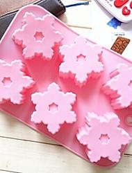 6 trous moules de chocolat de gelée de glace gâteau de forme de flocon de neige de moule, silicone 26,5 × 17 × 2,5 cm (10,4 × 6,7 × 1,0 pouces)