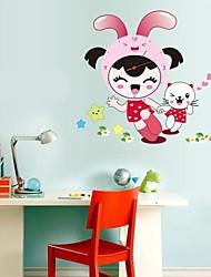 Wall Clock adesivos adesivos de parede, linda menina&suportar pvc adesivos de parede
