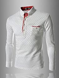 MANWAN WALK®Men's British Fashion Wave Point Slim Long sleeve Tee,Polo T shirt