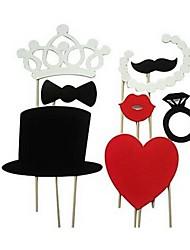 décoration de mariage 8 pièces accessoires de stand carte de photo de papier / parti faveur d'amusement (coeur&couronne&bague)