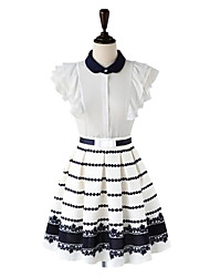Women's Layered Angel Sleeve Slim Waist Swing Dress