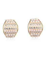 Women's Crystal Pearls Pave 18K Gold-plated Alloy Stud Earrings